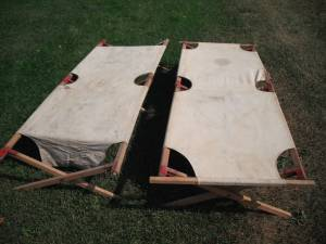 2 Vintage Army Style Cots Canvas Wood Bed (Thomas Township Shields)