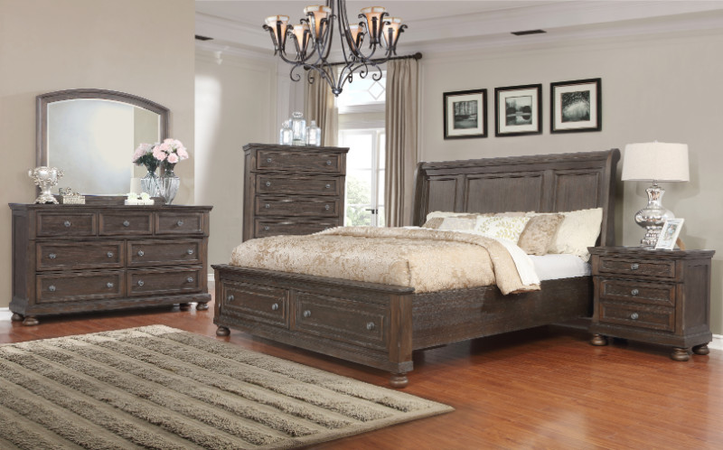 Mc Ferran B609 5 pc Ecentric rustic weathered finish wood queen bedroom set