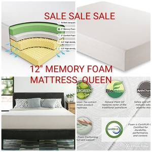 SALE NEW 12 inch Memory foam mattress, queen