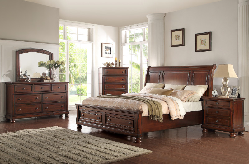 Mc Ferran B608 5 pc Eklectica walnut finish wood queen bedroom set