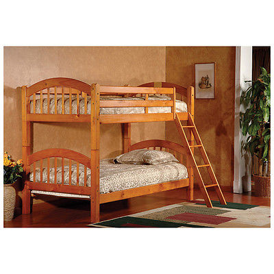 Twin Bunk Bed Built-In Ladder Oak Bedroom Furniture Bunkbed