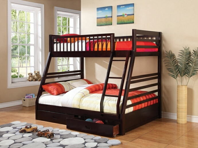 Coaster 460184 Cooper collection espresso finish wood twin over full bunk bed