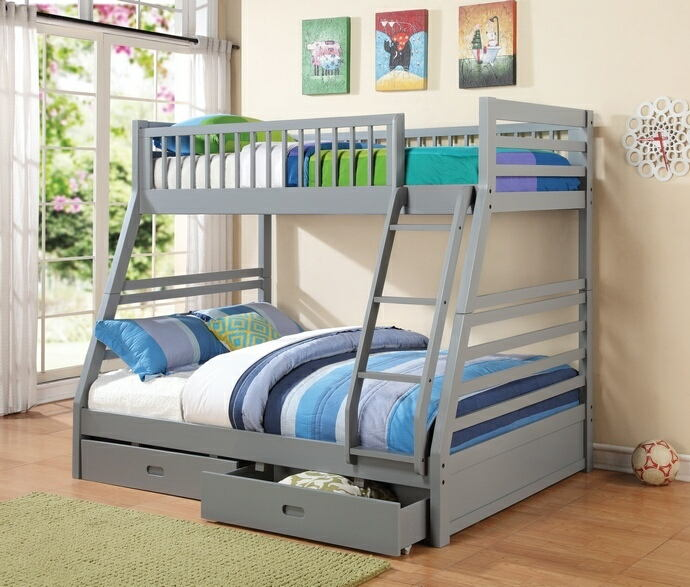 Coaster 460182 Cooper collection grey finish wood twin over full bunk bed set