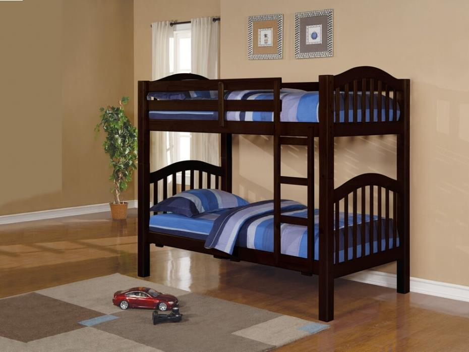 Acme 02554 Heartland collection espresso finish wood twin over twin bunk bed set