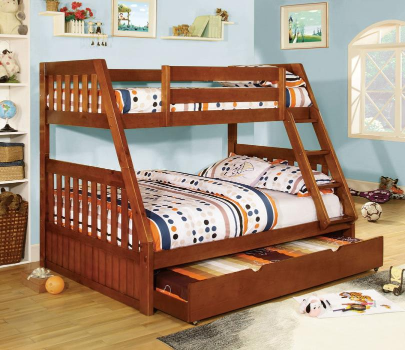 Furniture of america CM-BK605A Canberra oak finish wood twin over full bunk bed