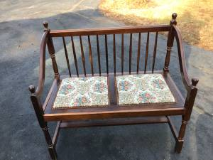 Wood bench with brocade seats (Shelbyville)