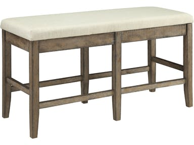 Claudia collection salvage brown finish wood counter height dining bench