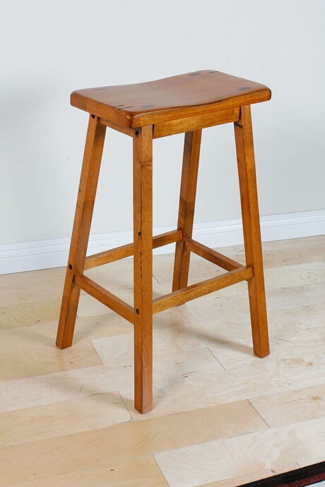 Acme 07307 Set of 2 gaucho collection oak finish wood farmhouse style bar stools