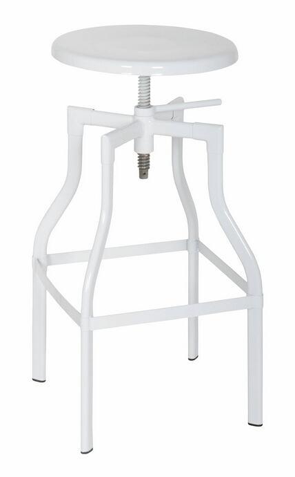 Acme 96636 White finish metal swivel adjustable height bar stool