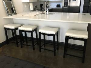 4 Modern White Leather bar/counter stools (Midtown)