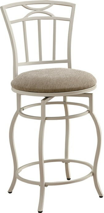Coaster 122049 Egg shell white swivel metal counter height bar stool with fabric