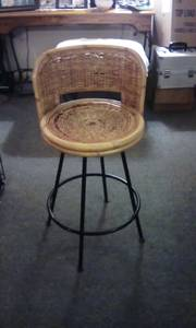 Bamboo and whicker bar stool (North Raleigh)