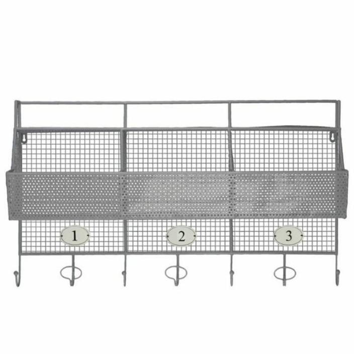 Metal Shelf And Coat Hanger With Mesh Backing 3 Numbered Shelves And 5 Hooks -