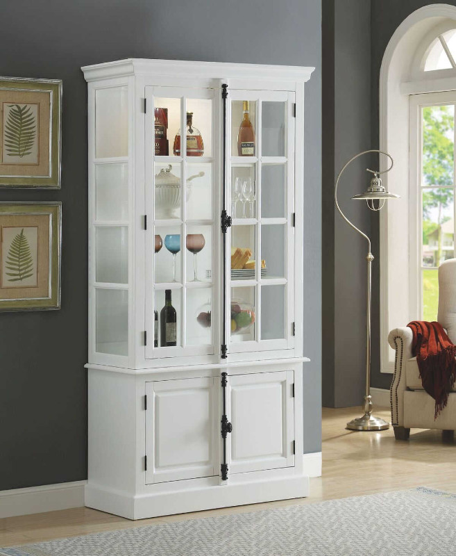 Iovius collection white finish wood curio cabinet with accented hardware