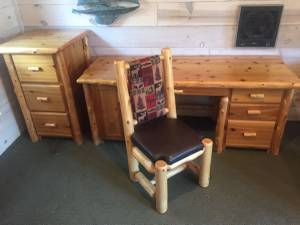 Pine Desk, Filing Cabinet and Chair (Cook)
