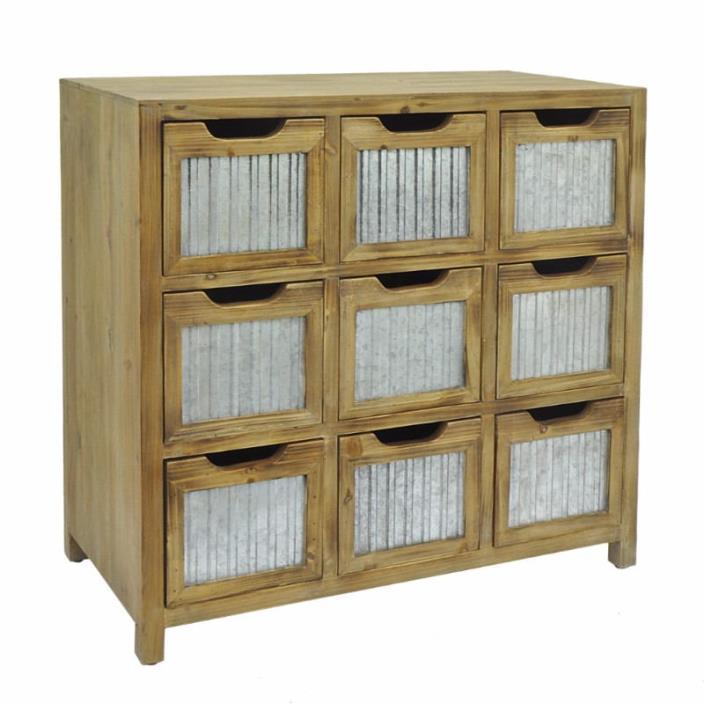 Wood Metal 9 Drawer Cabinet - Benzara