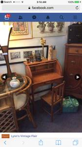 Antique child's roll top desk and chair (Rowley)