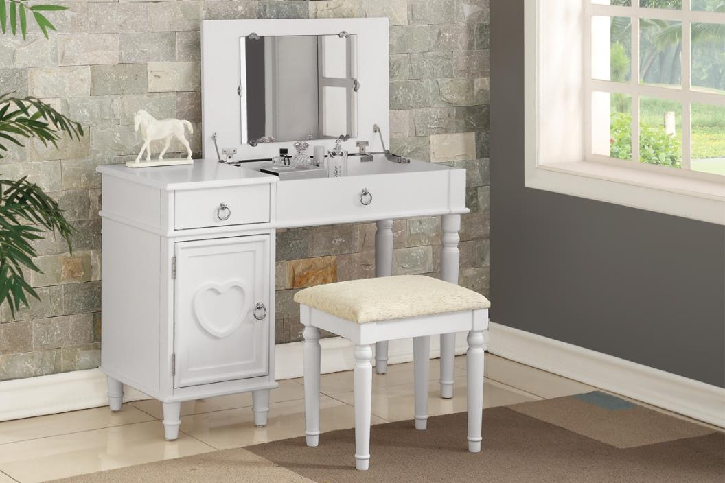2 pc Angelica collection white finish wood make up bedroom vanity set with