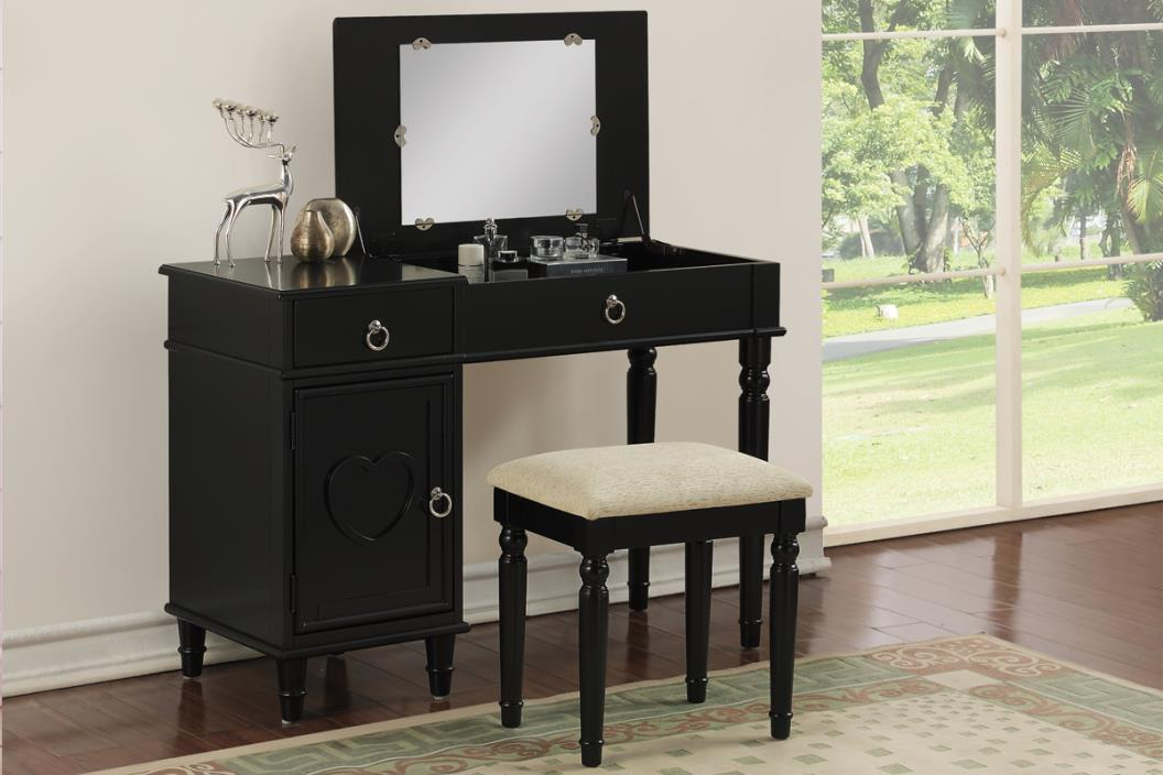 2 pc Angelica collection black finish wood make up bedroom vanity set with