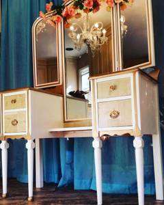 Vintage Upcycled Makeup Vanity Table* (Raleigh)