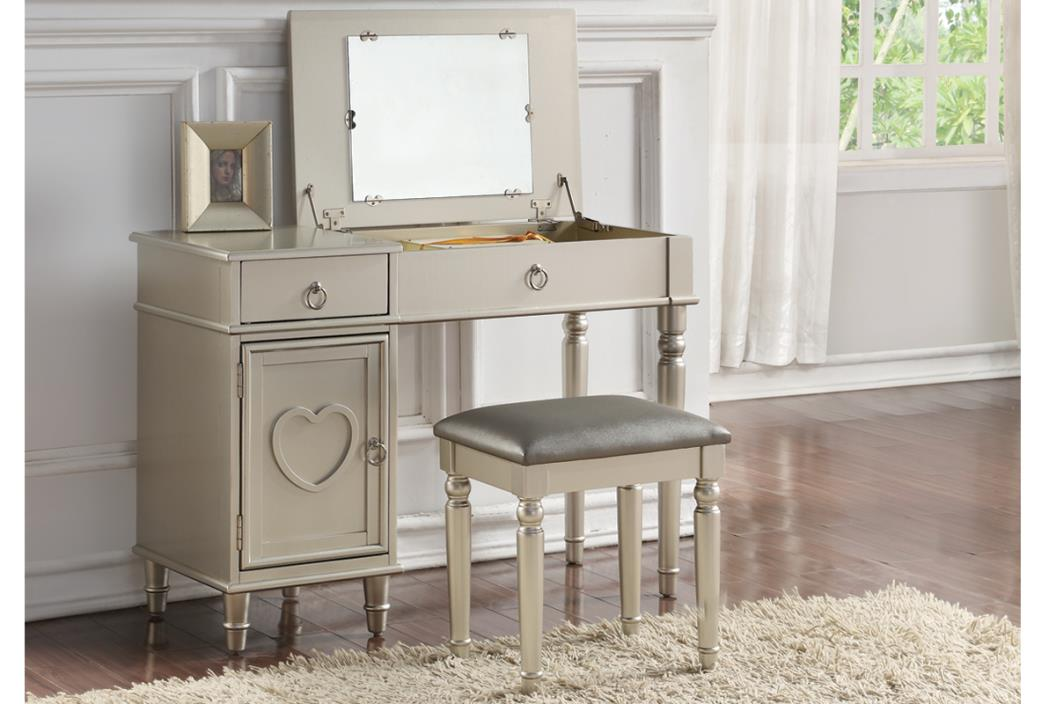 2 pc Angelica collection silver finish wood make up bedroom vanity set with
