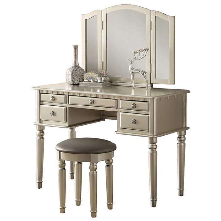 3 pc silver finish wood make up bedroom vanity set with curved legs stool and