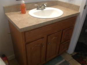 Kitchen cabinets, Island Bathroom Vanity cabinets, sink and faucet (Bedford)