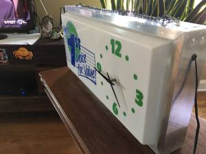 Vintage Wall Clock / Sign Lighted w/ Aluminum Frame Blue Green Letters