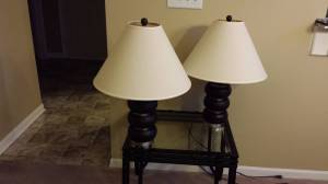 Dark Brown Satin Nickel Lamps x 2 (East Indianapolis)