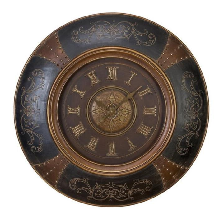 Wood Leather Wall Clock With Royal Look