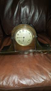 1920 Era Ansonia Tambour Mantel Clock with Westminster Chimes (Sycamore)
