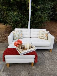 IKEA TUFTED WHITE LEATHER LOVESEAT SOFA WITH MATCHING OTTOMAN (SW Raleigh)