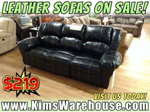 CLEARANCE - Black Leather Sofa - New Couch - Living Room Furniture (free