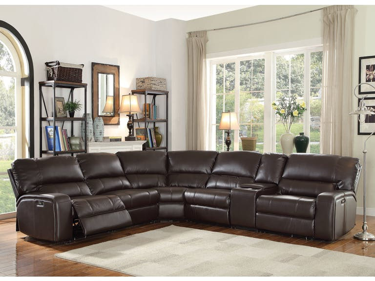 3 pc saul collection brown leather-aire upholstered sectional sofa with power