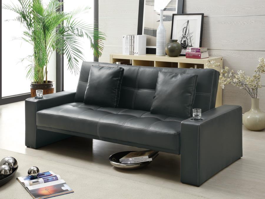 Silia black finish leatherette contemporary style futon sofa set with cup
