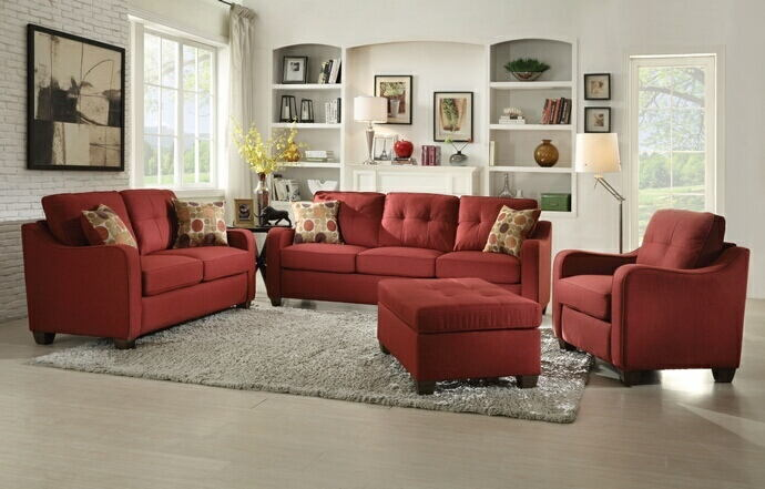 2 pc cleavon collection red linen fabric upholstered sofa and love seat set