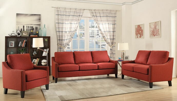 2 pc zapata collection red linen fabric upholstered sofa and love seat set