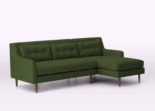 Mid-Century right Chaise Sectional Sofa Couch