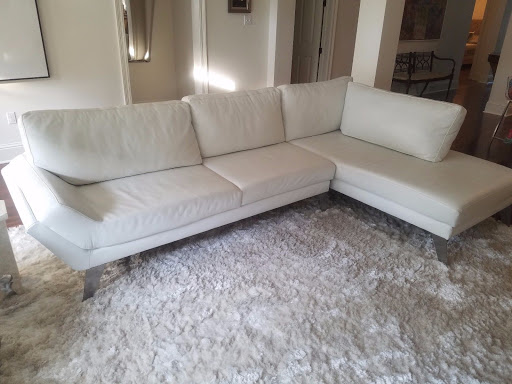 Custom White Leather Sectional Sofa $8500 NEW