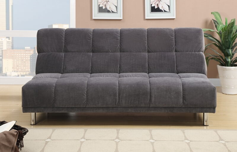 Grey plush microfiber fabric upholstered futon sofa bed with metal legs