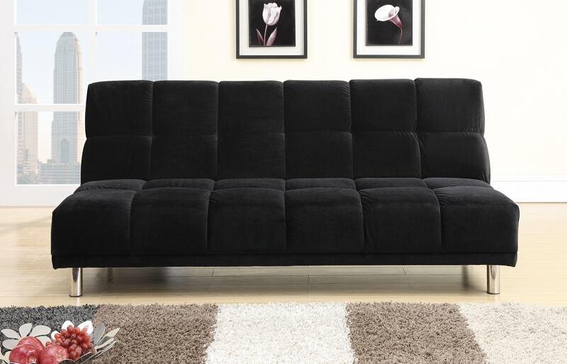 Black plush microfiber fabric upholstered futon sofa bed with metal legs