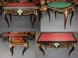 19th Century 1860's French Louis XV Inlaid Folding Game Card Table (Lewisville
