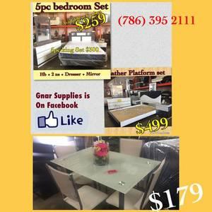 5Pc Bedroom Set $259 And Dining Set $179 (Bedroom Set)