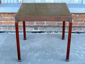 Vintage Bullock's brown vinyl top table - (Pomona)