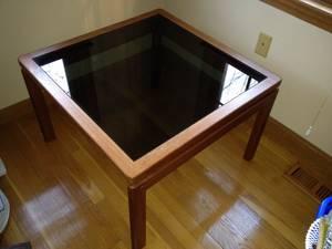 Teak glass table (Marshfield)