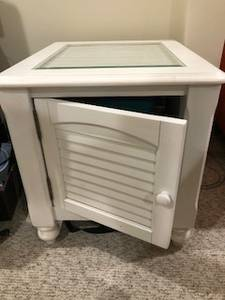 White end table/ storage table (Fairfax)