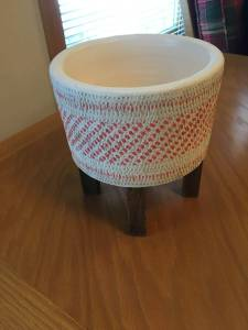 Ceramic Planter with Wooden Stand (Chaska)