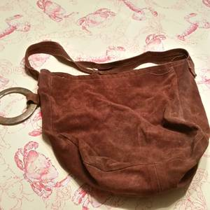 Vintage Custom Suede Leather Shoulder Bag w/Brass Ring