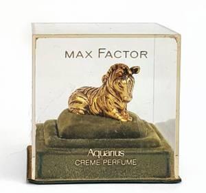 Vintage Max Factor Aquarius Solid Creme Perfume Gold Zebra (Sunland)