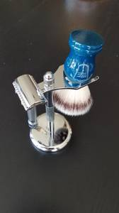 Merkur 34C double edge razor, Parker synthetic brush, and stand (RTP)